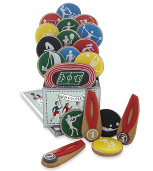 Biscuiteers Games Tin with sports inspired biscuits