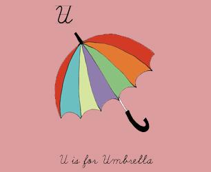 Rosie Wonders Handmade Cards U is for Umbrella illustration