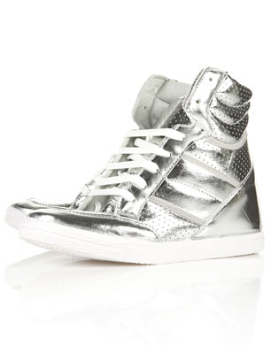 Silver Wedge Heel Trainers