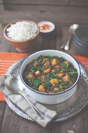 Squash Spinach Lentil Curry