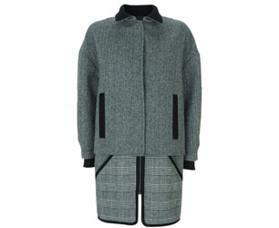 Topshop Best of British - Grey Wool and Tweed Coat