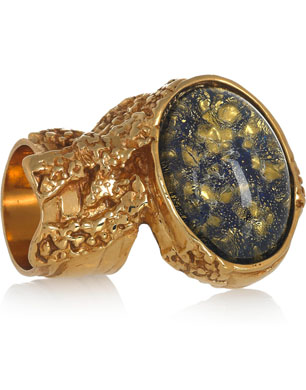 YSL Arty Gold-Plated Glass Ring