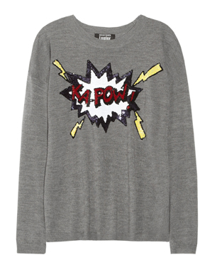 Markus Lupfer Ka-Pow Sequined Wool Sweater