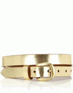 Metallic Leather Slim Belt
