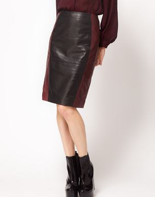 Leather Colour Block Pencil Skirt