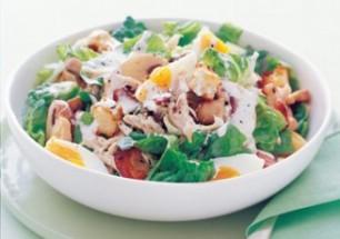Chicken and mushroom caeser salad