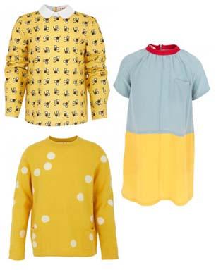 Marni Kids AW12 yellow blouse, jumper and smock dress