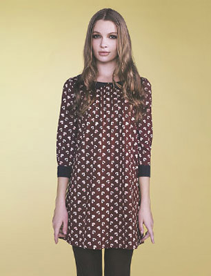 Orla Kiely Uniqlo model wears printed tunic dress