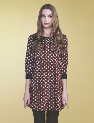 Orla Kiely Uniqlo model wears printed tunic dress