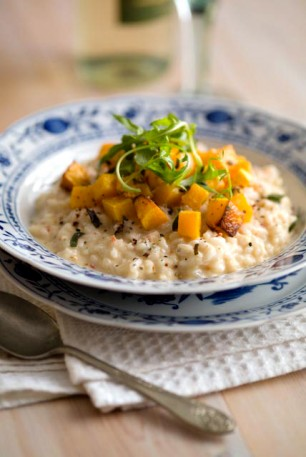 Risotto with squash and tomato