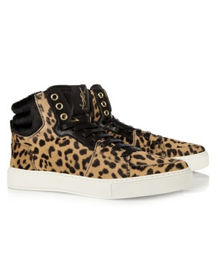 Yves Saint Laurent Leopard Print Calf Hair Trainers