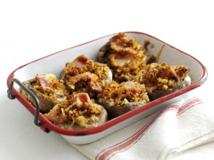 crunchy topped baked mushrooms