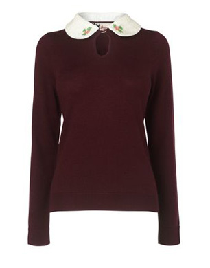 Sequin Collar Wool Jumper