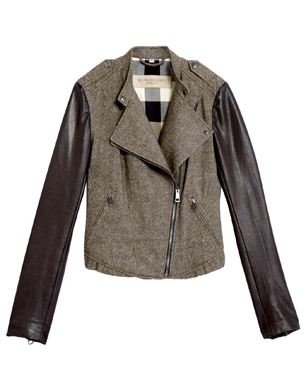 Burberry Brit Contrast Sleeve Biker Jacket