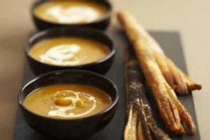 Halloween-Pumpkin-Soup-With-Breadstick-Broomsticks-