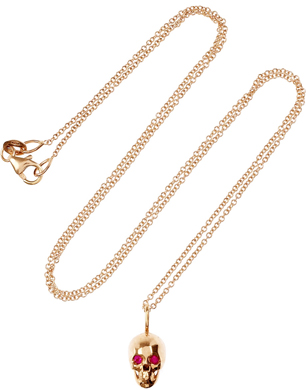Leana Makri Skull 18-Karat Rose Gold Ruby Necklace