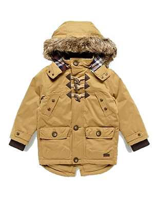 Jasper Conran Tan Hooded Parka Coat With Faux Fur Trim