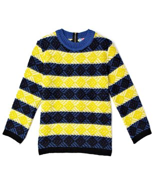 MSGM Yellow Stripe Jumper With Back Zip