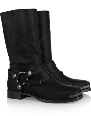 Miu Miu Brushed Leather Biker Boots
