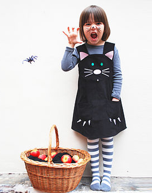 Girls Halloween Cat Dress Costume