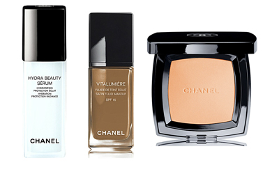 Chanel Hydra Beauty Sérum, Vitalumière Satin Smoothing Fluid Makeup, Poudre Universelle Compacte