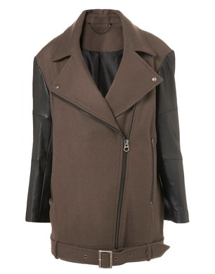 Leather Sleeve Biker Coat