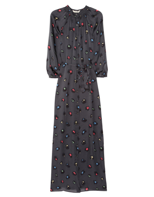 Tucker Printed Silk-Satin Maxi Dress