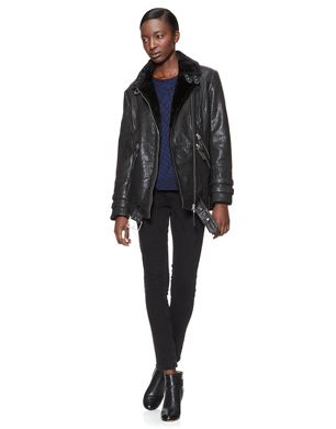 Jamie Longline Leather Biker