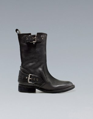 Biker Ankle Boot With Buckles