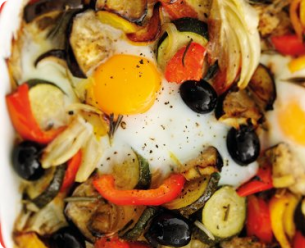 roasted vegetables and eggs