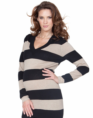 Black & Sand Long Striped Jumper