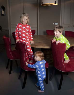 ava and luc kids wearing pyjamas