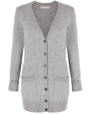 Cashmere Long Cardigan in Light Grey