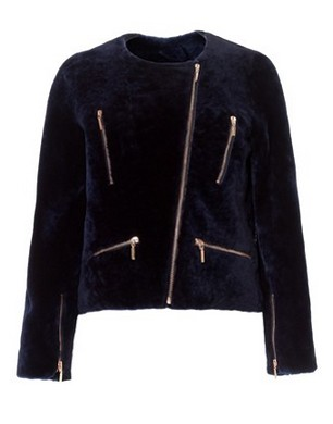 Cédric Charlier Midnight Blue Shearling Jacket