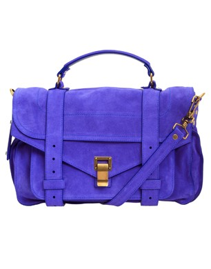 Proenza Schouler Cobalt Medium PS1 Suede Satchel