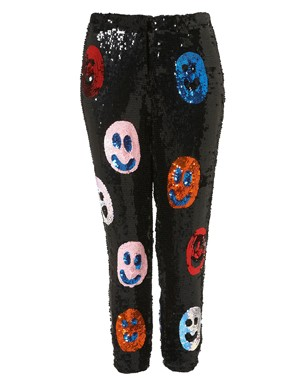 Smiley Face Sequin Trousers By Louise Gray at Topshop