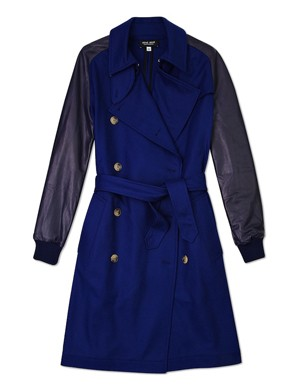 Sophie Hulme Leather Sleeve Wool Trench Coat