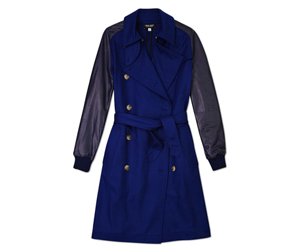 sophie hulme navy trench with black leather sleeves