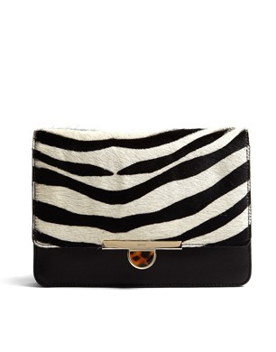 DKNY Large Zebra Haircalf Leather Clutch