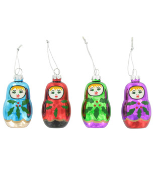 4 russian doll glass baubles