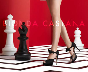 Bionda Castana black shoes against chess board background