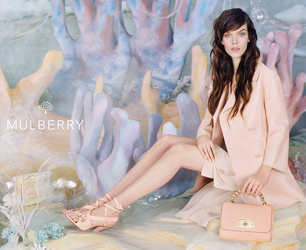 Mulberry Spring Summer collection model wears pale pink dress and coat