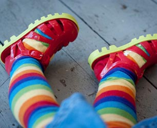 Red Jelly Shoes with stripy socks