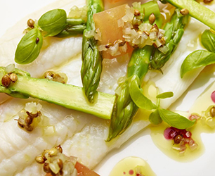 Boiled Asparagus with Lemon Sole and Sauce Vierge