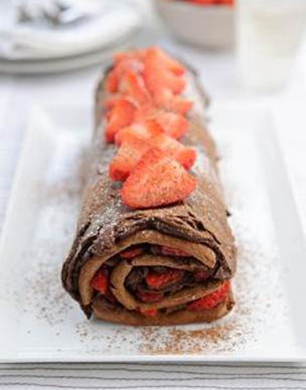 Strawberry & Chocolate Ganache Roulade