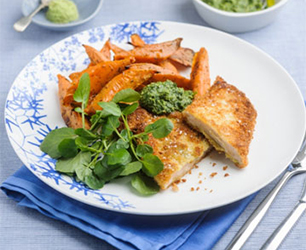 Panko Breadcrumb Crusted Chicken with Watercress & Wasabi Pesto Dip Served with Sweet Potato Fries