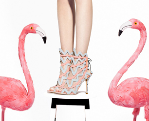 model wears Sophia Webster shoes with flamingos either side