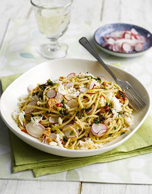 Spaghetti with Crab, Lemon, Chilli and Radish