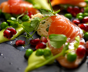 Citrus Fruit Salad with Salmon and English Peas