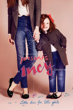little girl with mum wearing charlotte olympia kitty flats